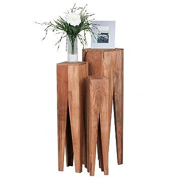 Perfekt Beistelltisch 3er Set Massivholz Akazie Wohnzimmer Tisch Design Säulen  Landhausstil Couchtisch Quadratisch