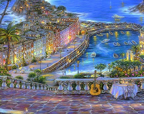 New 5D Diamond Painting Kits for Adults Kids, Awesocrafts Seaside City Boats Palm Tree Guitar Full Drill DIY Diamond Art Embroidery Paint by Numbers with Diamonds (City) ()