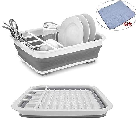 Kitchen Drying Set - Collapsible Dish Storage Rack with Large Dish Drying  Mat