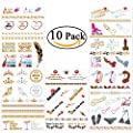 Bachelorette Party Tattoos, NUOLUX Flash Bachelorette Tattoos for Girl's Night Out Party Favor Decorations - 10 Sheet