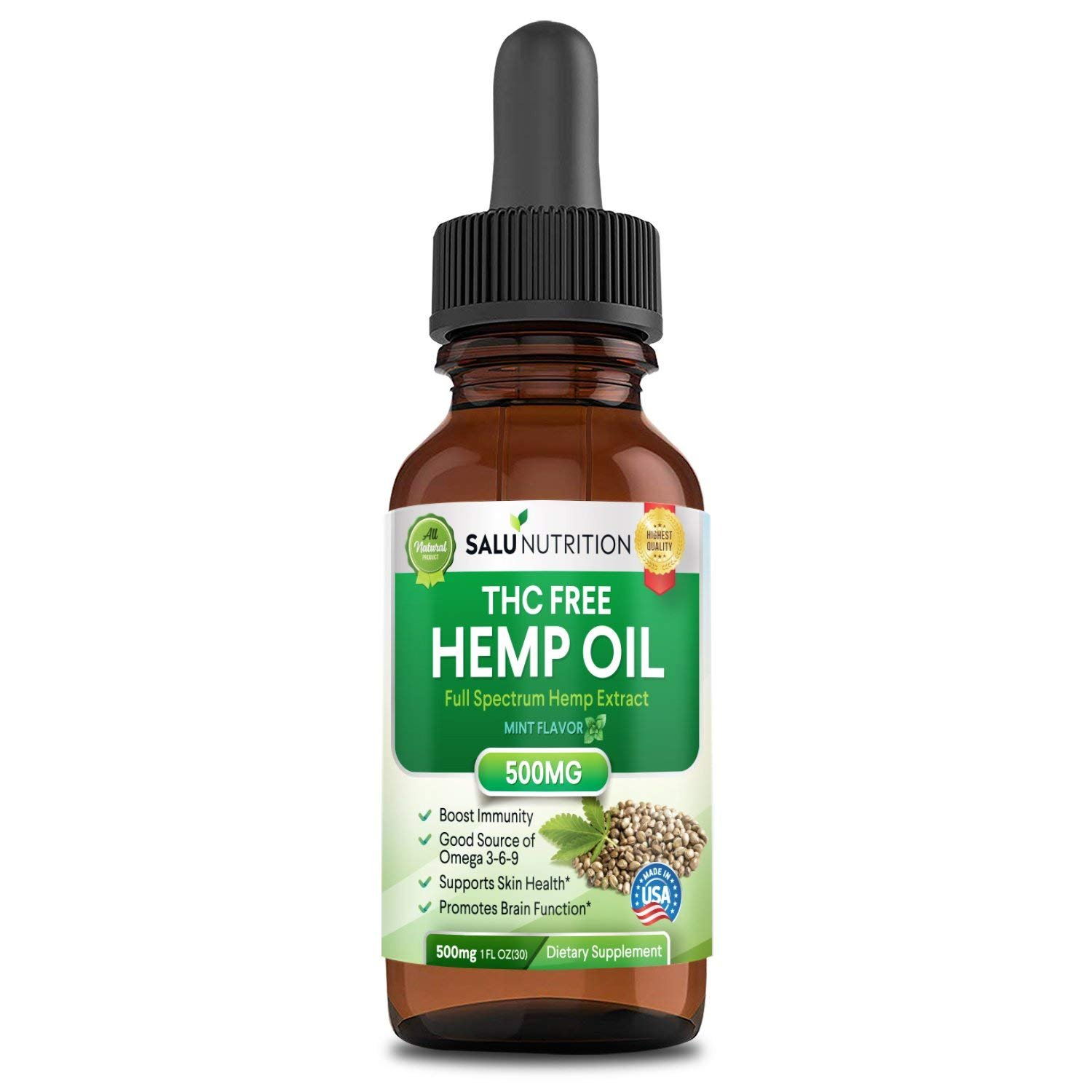 Hemp Oil,Hemp Extract with 500 Milligram Helps with Anxiety, Chronic Pain, Sleep, Mood, Skin and Hair Utilizing Liquid Hemp Extract Oil Drops