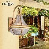 SJUN—European-Style Outdoor Wall Lamp Bedroom Living Room Stairs Light Balcony American Brass Lamp