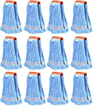 Nine Forty Industrial | Commercial Strength Premium Looped End Floor Cleaning Wet Mop Head Refill | Replacement – Heavy Duty 4 Ply Synthetic Yarn (12 Pack, Large)