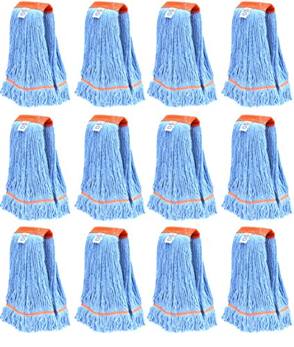 Nine Forty Industrial | Commercial Strength Premium Looped End Floor Cleaning Wet Mop Head Refill | Replacement – Heavy Duty 4 Ply Synthetic Yarn (12 Pack, Large) - Yarn 12 Mop