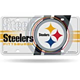 """NFL Pittsburgh Steelers """"Circle"""" Metal Auto Tag, White"""