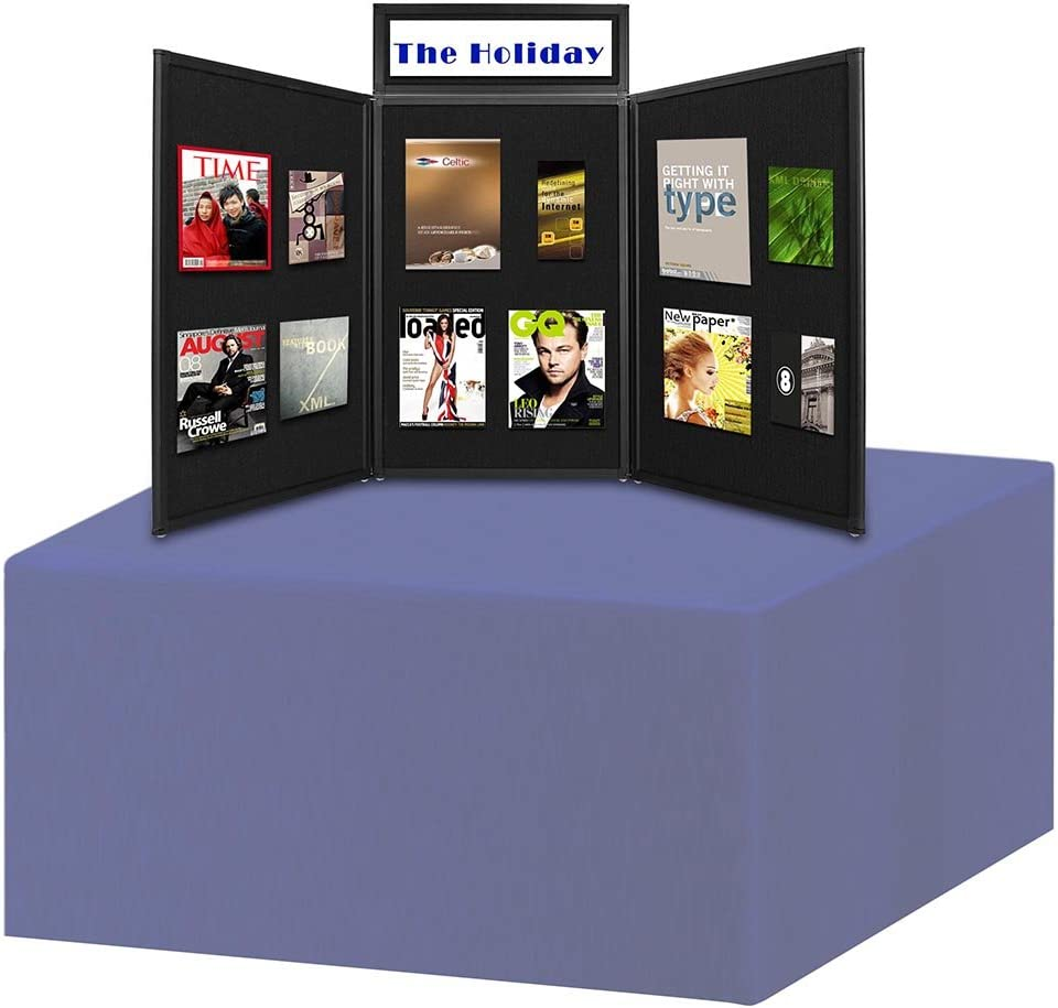 ReaseJoy Folding Display Board 3 Panels Portable Exhibition Stand and Header Flannelette Surface Aluminium Frame with Carry Bag Black