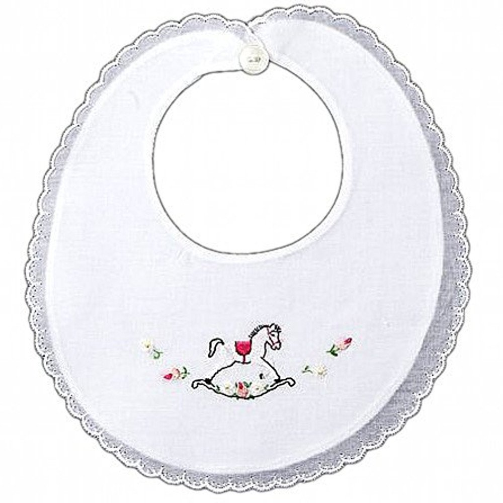 Baby Bib Drool Burping Cloth White Pure Swiss Cotton with Rocking Horse Embroidery