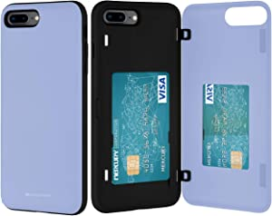 Goospery iPhone 8 Plus Case, iPhone 7 Plus Wallet Case with Card Holder, Protective Dual Layer Bumper Phone Case (Lilac Purple) IP8P-MDB-PPL