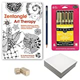 Zentangle Drawing Starter Kit, Advanced – (Bundle of 5 Items) – Zentangle Art Therapy Instructional Guide, Sakura 6-Piece Pigma Micron Black Ink Pen Set, Pencil, Eraser and 60 Artist Tiles