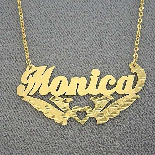 solid 14k gold name necklace diamond cut fancy. Black Bedroom Furniture Sets. Home Design Ideas