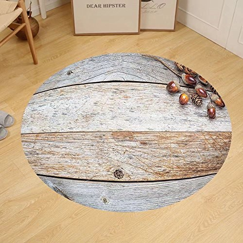 Gzhihine Custom round floor mat Rustic Home Decor Acorns and Cones on Weathered and Grained Wooden Back Timber Fall Theme Image Bedroom Living Room Dorm (Acorn Back High Chair)