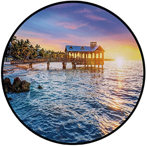 Printing Round Rug,United States,Pier at Beach in Key West Florida USA Tropical Summer Paradise Mat Non-Slip Soft Entrance Mat Door Floor Rug Area Rug For Chair Living Room,Light Blue Yellow -