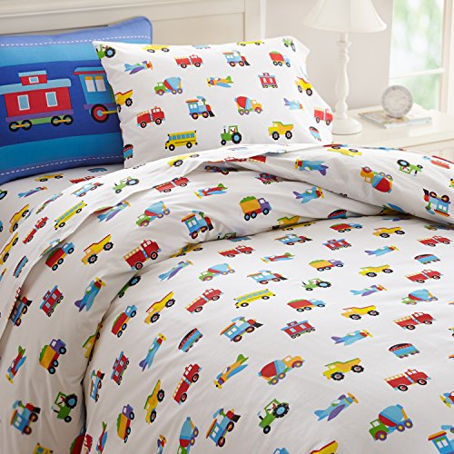 Wildkin Twin Duvet Cover, Super Soft 100% Cotton Twin Duvet Cover with Button Closure, Coordinates with Other Wildkin Room Décor, Olive Kids Design – Trains, Planes, Trucks by Wildkin