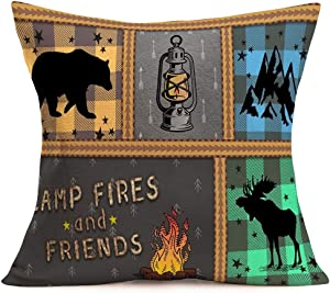 Fukeen Camping Camper Pillow Covers Camp Fires and Friends with Bear Mountain Elk Deer Lamp Decorative Throw Pillow Cases Vintage Buffalo Arrow Home Outdoor Decor Cushion Cover Cotton Linen 18x18 Inch