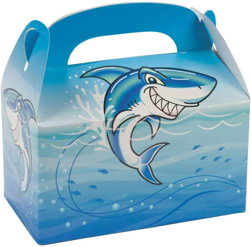 Jawsome Shark Treat Boxes - Party Supplies - 12 Pieces
