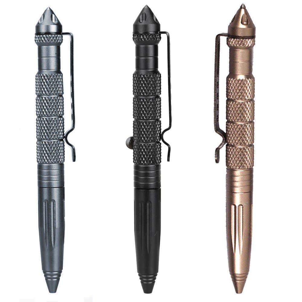 Tactical Pen Self Defense Weapon EDC Emergency Kit Survival Gear Multi-Functional Tool Aircraft Aluminum w/Tungsten Steel Tip Glass Breaker (Pack of 3)