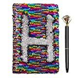 Mwfus Reversible Mermaid Sequin Small Diary Office Notebook with Crystal Diamond Ballpoint Pen