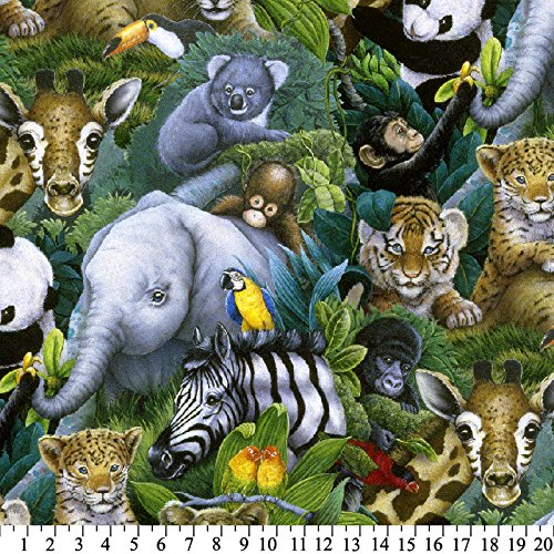 Expert choice for jungle animals fleece fabric