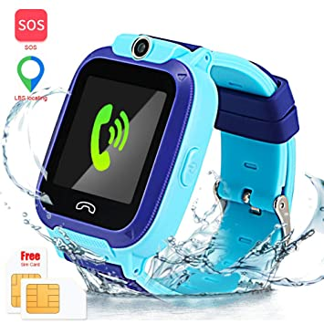 Enow Kids Smart Watch, IP67 Waterproof LBS Tracker Smartwatch with SOS Call Camera Flashlight Alarm Activity 1.44 Touch Screen SIM Card Slot ...