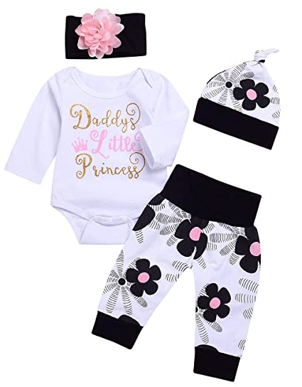 ab99daf0f131 Amazon.com  4Pcs Cute Daddy Little Princess Outfits Onesies Newborn Baby  Girl Set Bodysuits Short Sleeve Romper Jumpsuit Infant Clothes  Clothing