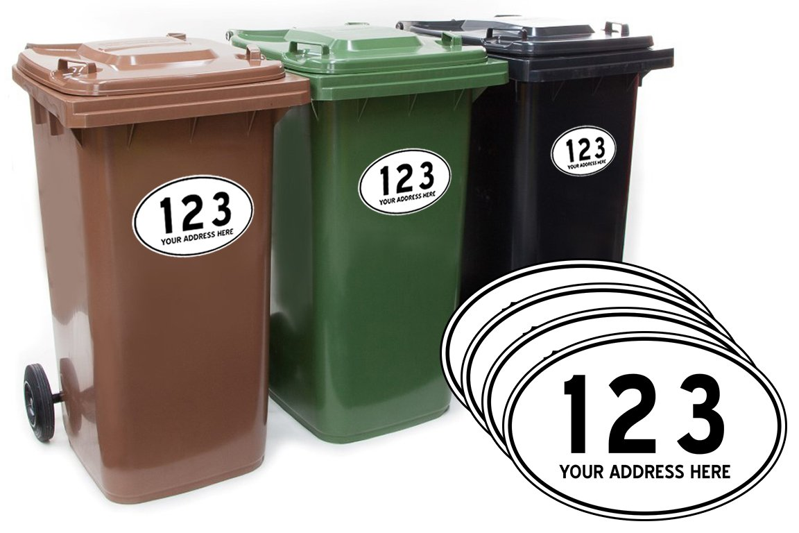 Custom Personalised, Outdoor Printed Dustbin Wheelie Bin Number Stickers with number and road Name – Vinyl Print Waste Container Decals Sticky numbers for wheelie bins - Style 3 - set of 4 … (Vinyl Sticker, A5 148 x 210 mm) Active Film