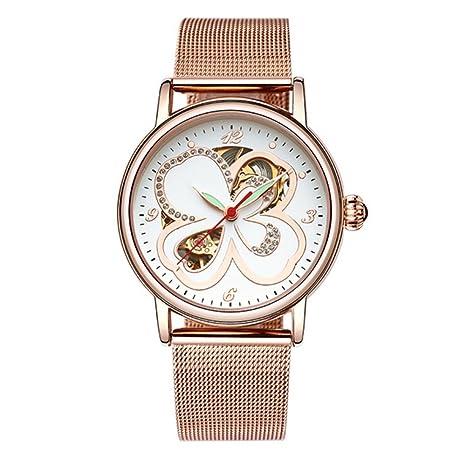 Watch Relojes Reloj Para Mujer Cuarzo Alta Gama Totalmente Automático Hueco Casual Acero Moda Premium Luminoso