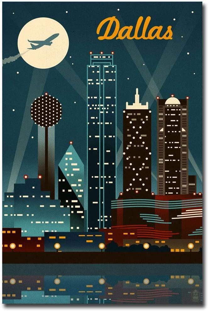 "Texas Dallas Retro Skyline Travel Refrigerator Magnet Size 2.5"" x 3.7"""