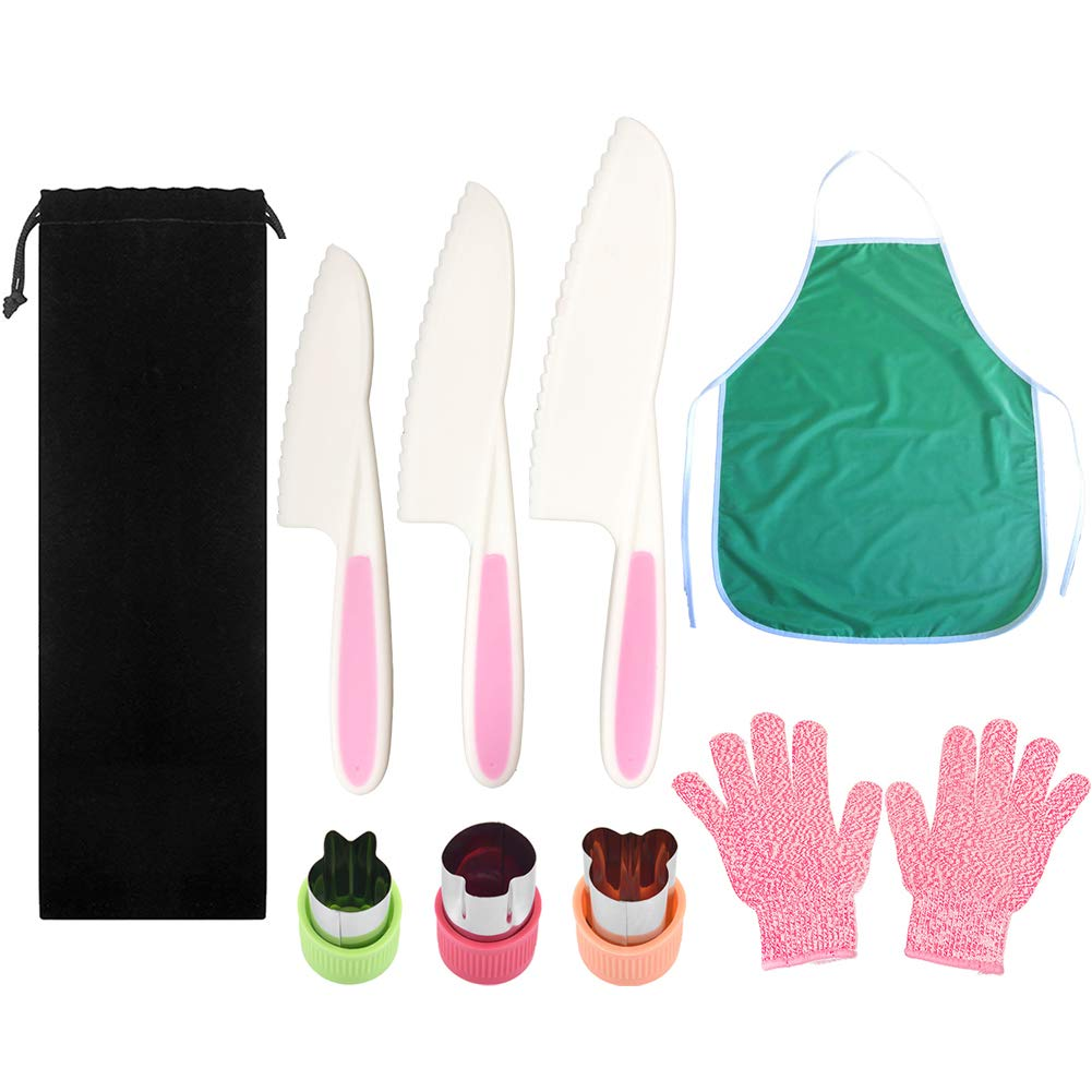 Pocomoco Kids Kitchen Knife Set Children Safe Cooking Plastic Knives Set with Kids Apron, Cut-resistant Gloves (Ages 6-12), Vegetables Cutters Perfect for Fruit, Bread, Cake, Lettuce, Salad (Pink) by Pocomoco