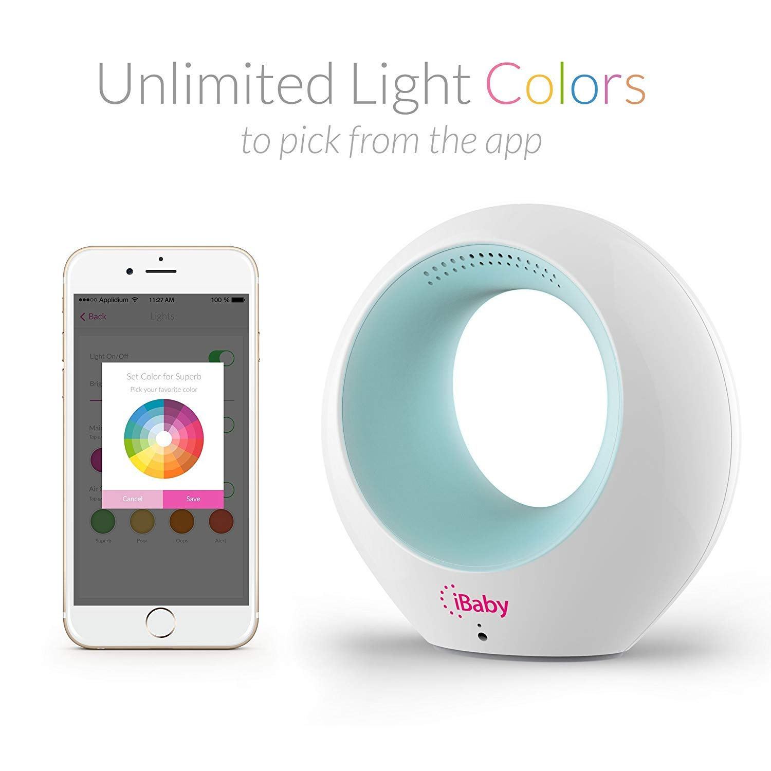 Air Smart Baby Audio Monitor White Alarm Clock FM Radio Early Education Machine Temperature /& VOC Detector Wake-up Light Therapy Lamp iBaby Wake Up Light