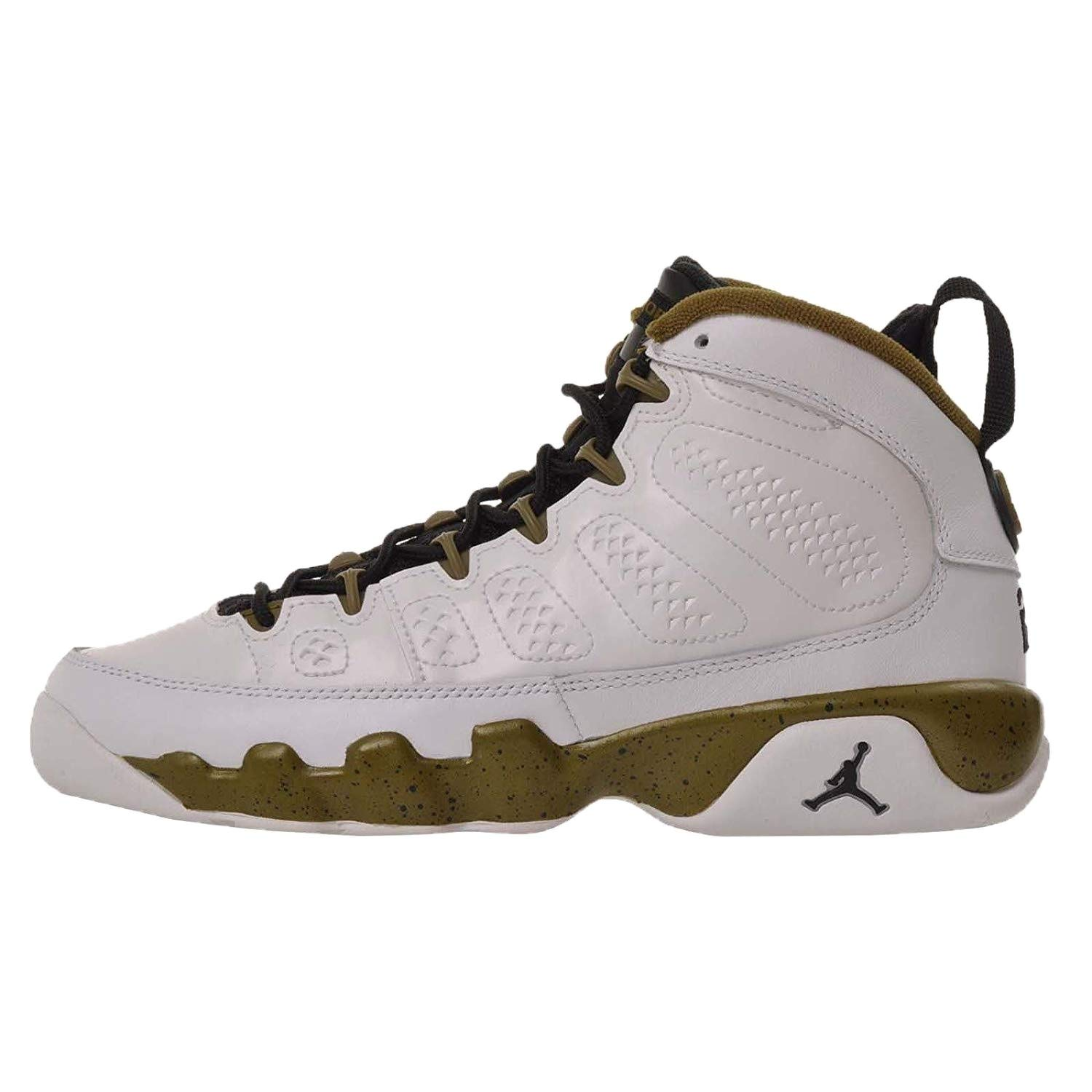 more photos 9eee8 4bfe4 Amazon.com   Nike Air Jordan 9 Retro BG (white   black   militia green)  Kids Basketball Shoes, Size 6 Y   Running