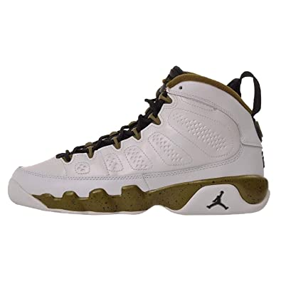 reputable site 66a26 514fa Nike Air Jordan 9 Retro BG (white   black   militia green) Kids Basketball