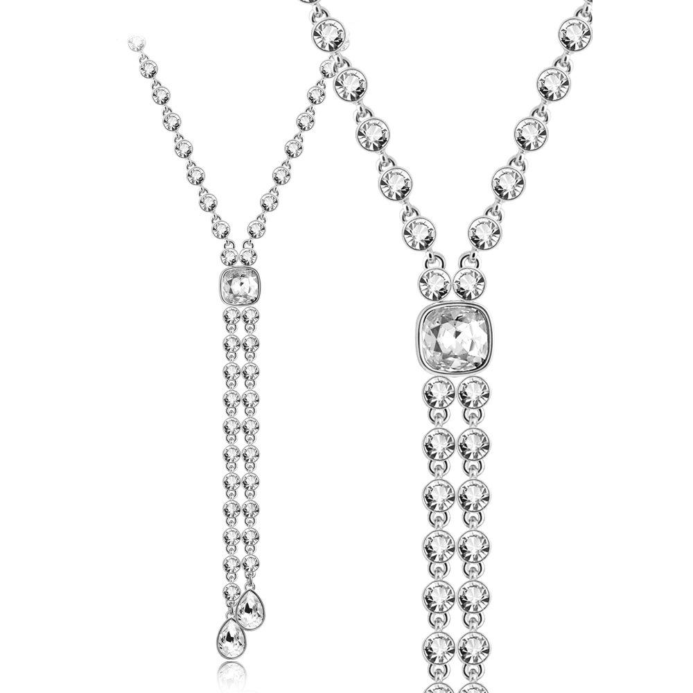 Iuha 18 18k White Gold Plated Austria Cz Diamond Precious Y-necklace-silver
