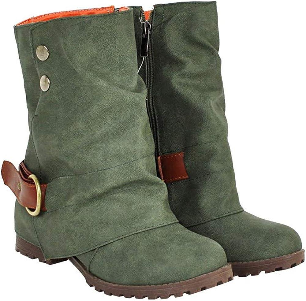LongraHot Ventas Winter Warm Short Leather Boots Mujeres Hebilla de imitación de Cuero Patchwork Shoes Boots