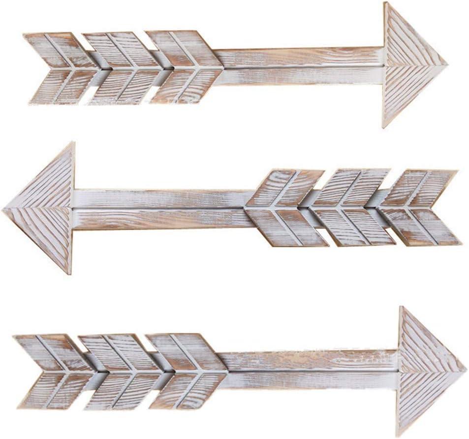 JHHSYU Wooden Arrow Wall Decor - Rustic Wood Arrow Sign, Set of 3, Vintage White