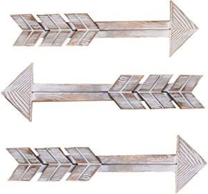 JHHSYU Wooden Arrow Wall Decor - Rustic Wood Arrow Sign, Set of 3, Vintage White