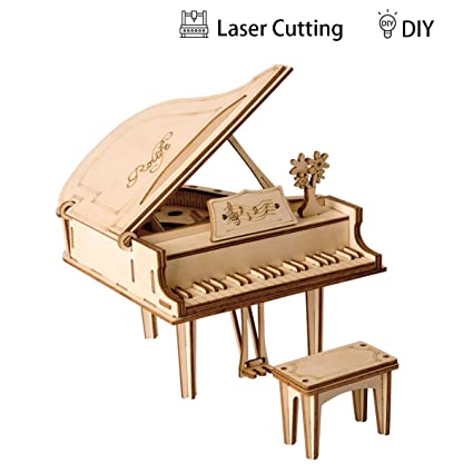 Amazon Com Robotime 3d Laser Cut Puzzle Grand Piano Model Kits Diy