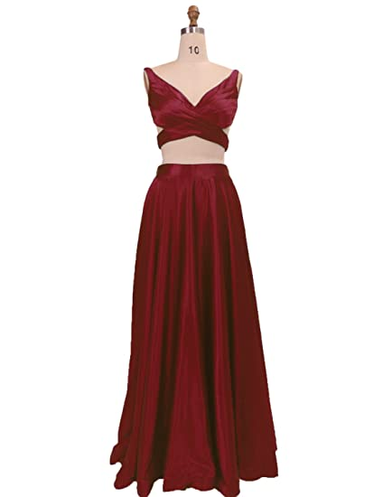 Stillluxury Satin Long Prom Dresses Two Piece Evening Gowns Crop Top and Skirt Burgundy Size 6