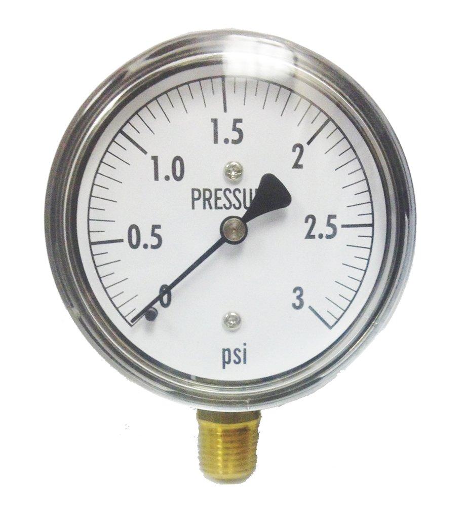 Kodiak Controls KC25-3# Low Pressure Gauge 3 PSI