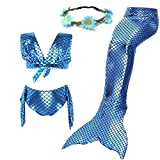 AMENON 3PCS Girls Mermaid Tail Swimsuit Princess Bikini Set Swimwear Can Match Monofin (With Garland) (XL(7T)/140cm(140cm(6-7Y)), Steelblue)
