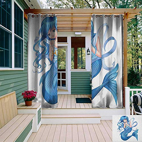 leinuoyi Anime, Outdoor Curtain of Lights, Manga Cartoon Style Character of a Pisces Girl Horoscope Zodiac Themed Avatar, for Pergola W84 x L96 Inch Blue and White