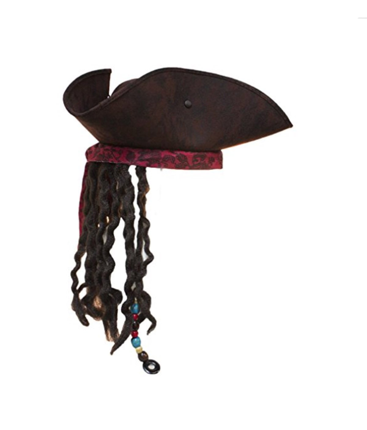 Jacobson Hat Company Men's Caribbean Pirate Hat with Braids, Brown, Adjustable