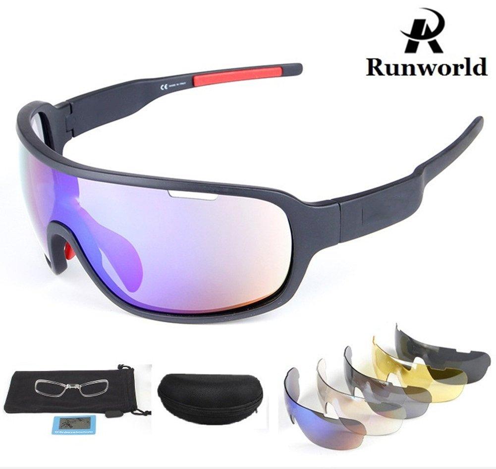 Runworld スポーツサングラス メンズ レディース 交換レンズ5枚付き アウトドアスポーツ MTB サイクリング ランニング ドライビング 野球 メガネ アイウェア UV保護  ブラック B07D6KKK1D