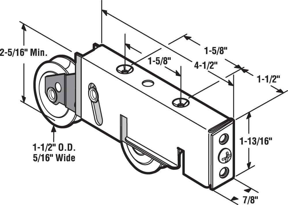 Prime-Line Products D 1549 Sliding Door Tandem Roller Assembly with 1-1//2-Inch Steel Ball Bearing