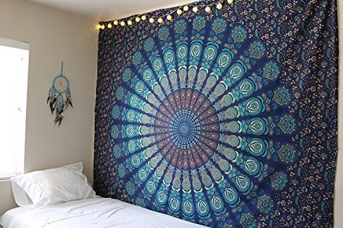 Bless International Indian Hippie Bohemian Psychedelic Peacock Mandala Wall Hanging Bedding Tapestry (Blue Green, King(88x104Inches)(225x265Cms))