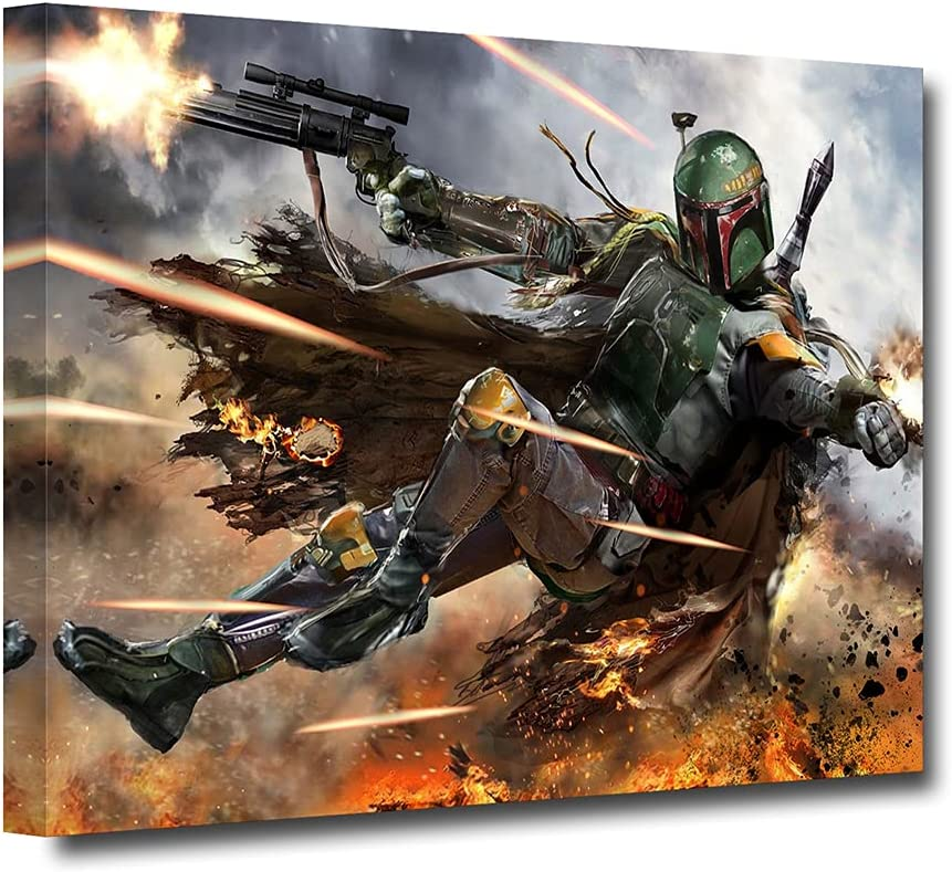 Boba Fett Poster Movie Poster Bounty Hunter Classic Canvas Wall Art Home Decor Mural Home Decoration Stretched Gallery Canvas Wrap Giclee Print