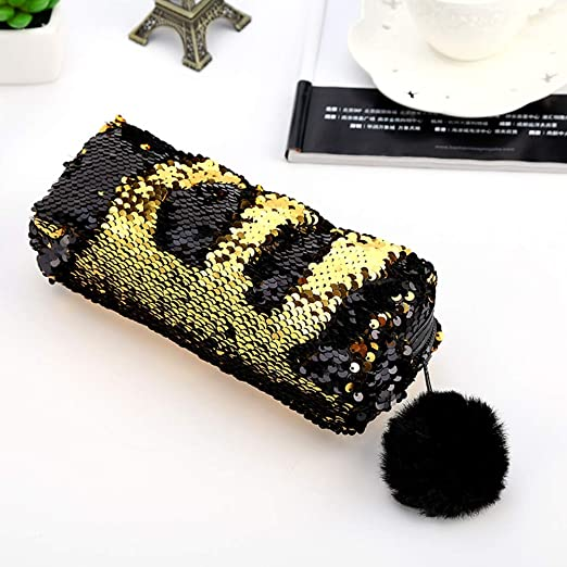Amazon.com : Sequin Pompom Decor Large Capacity Pencil Bag ...