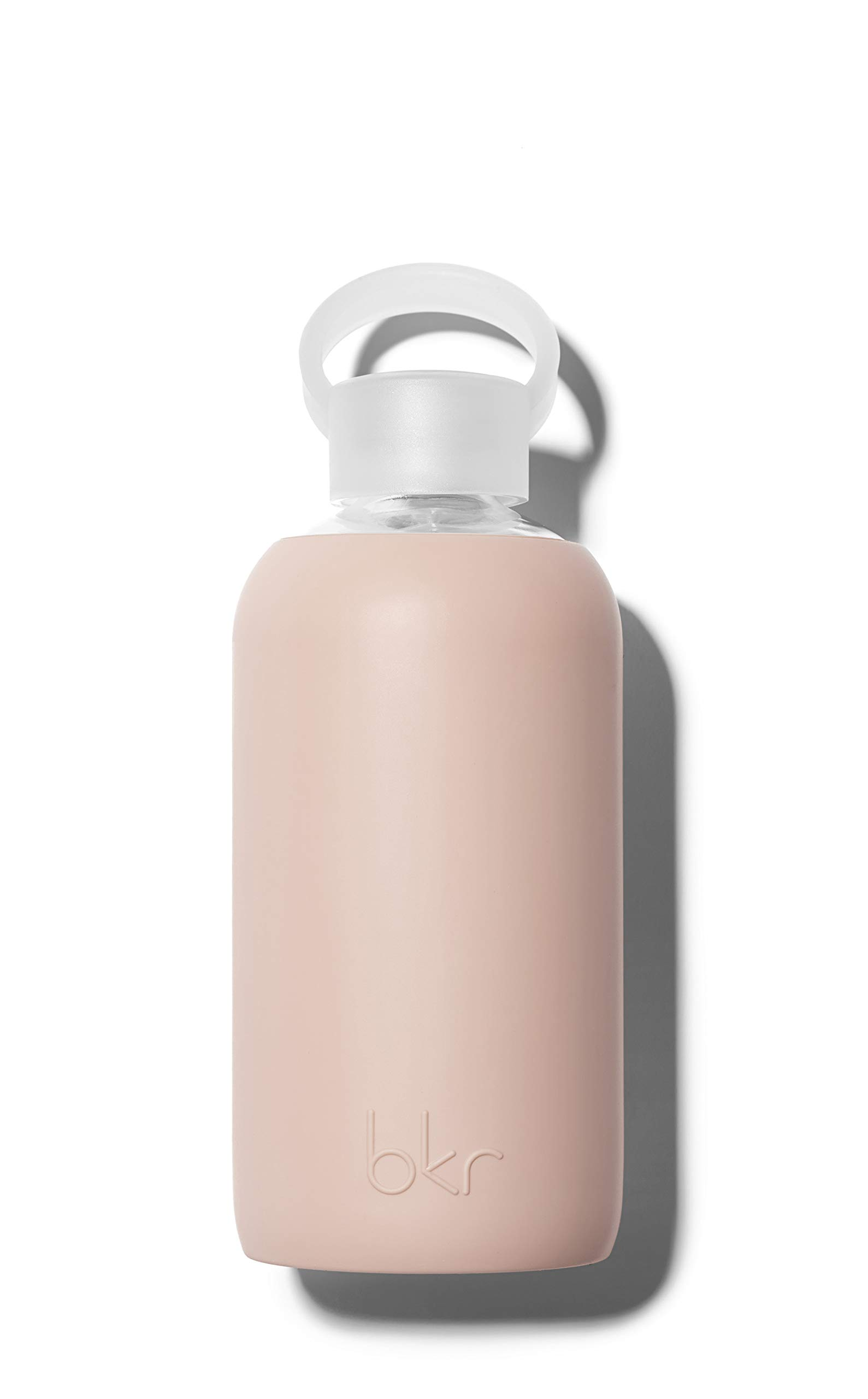 bkr BPA-Free Silicone Sleeve Glass Water Bottle, 16oz / 500 ml - Naked - Opaque Light Chocolate Milk Nude by bkr (Image #1)