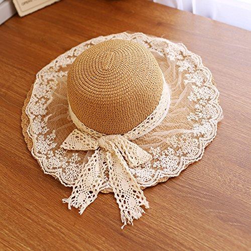 Tapa Visor de verano los niños playa cap sunscreen tapones abombados stetson encajes de pajarita, sombrero de paja cool cap tide de SEN (bebé) , 52-54cm) caqui
