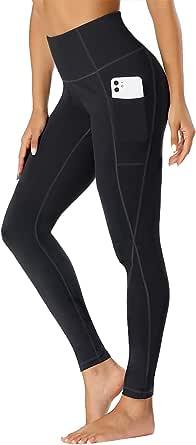 TOPLUS dam sport leggings yogabyxor med 2 fickor, svarta sportbyxor streetwear