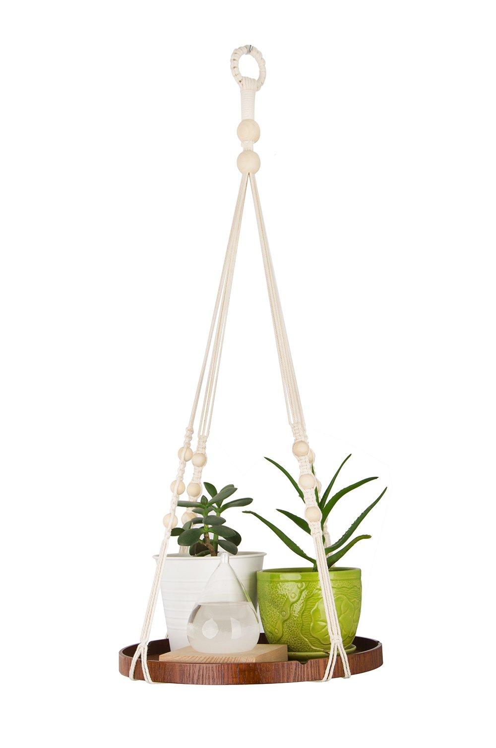 Macrame Plant Hanger - Indoor Hanging Planter Shelf - Decorative Flower Pot Holder – Boho Bohemian Home Decor, in Box, for Succulents, Cacti, Herbs, Small Plants
